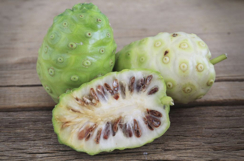 Morinda citrifolia or noni on wooden